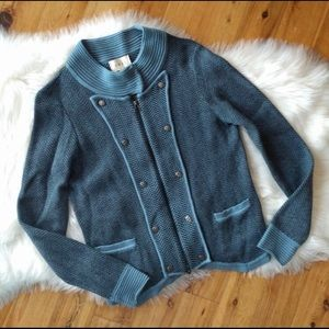 Anthropology sweater, military flare